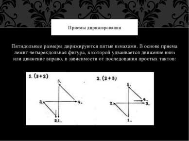 Пятидольные размеры дирижируются пятью взмахами. В основе приема лежит четыре...