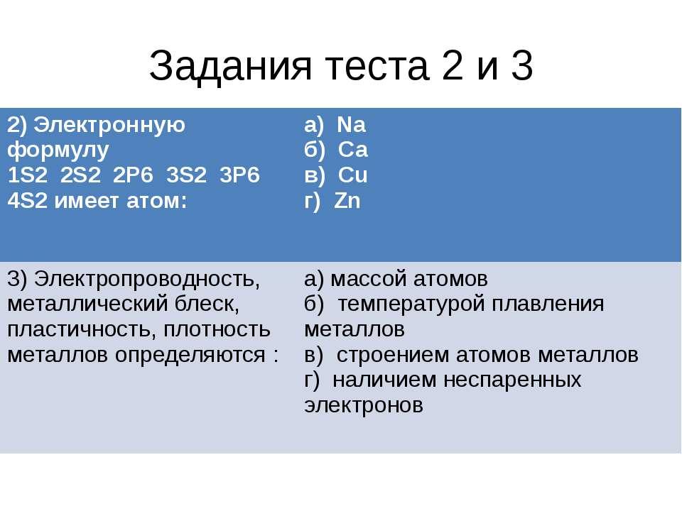 Задания теста 2 и 3 2) Электронную формулу 1S2 2S2 2Р6 3S2 3Р64S2имеет а...