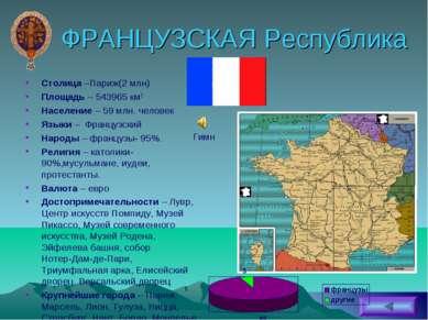 ФРАНЦУЗСКАЯ Республика Столица –Париж(2 млн) Площадь – 543965 км2 Население –...
