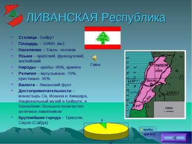 ЛИВАНСКАЯ Республика Столица –Бейрут Площадь – 10400 км2 Население – 3 млн. ч...
