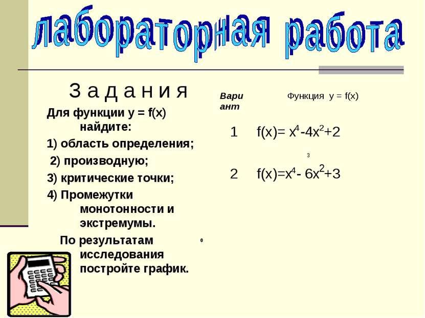 З а д а н и я Для функции у = f(х) найдите: 1) область определения; 2) произв...