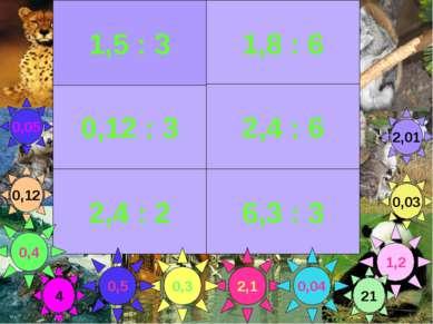 1,8 : 6 0,12 : 3 2,4 : 6 2,4 : 2 6,3 : 3 2,1 1,2 0,3 0,4 0,04 1,5 : 3 0,03 2,...