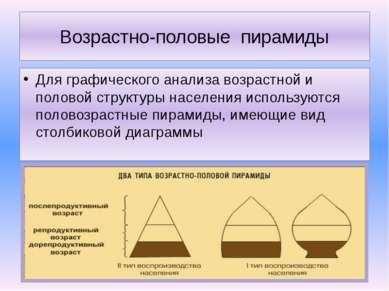 Возрастно-половые пирамиды Для графического анализа возрастной и половой стру...