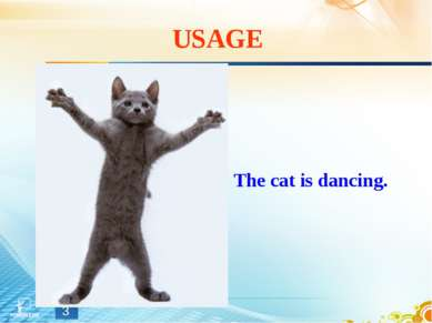USAGE The cat is dancing. *
