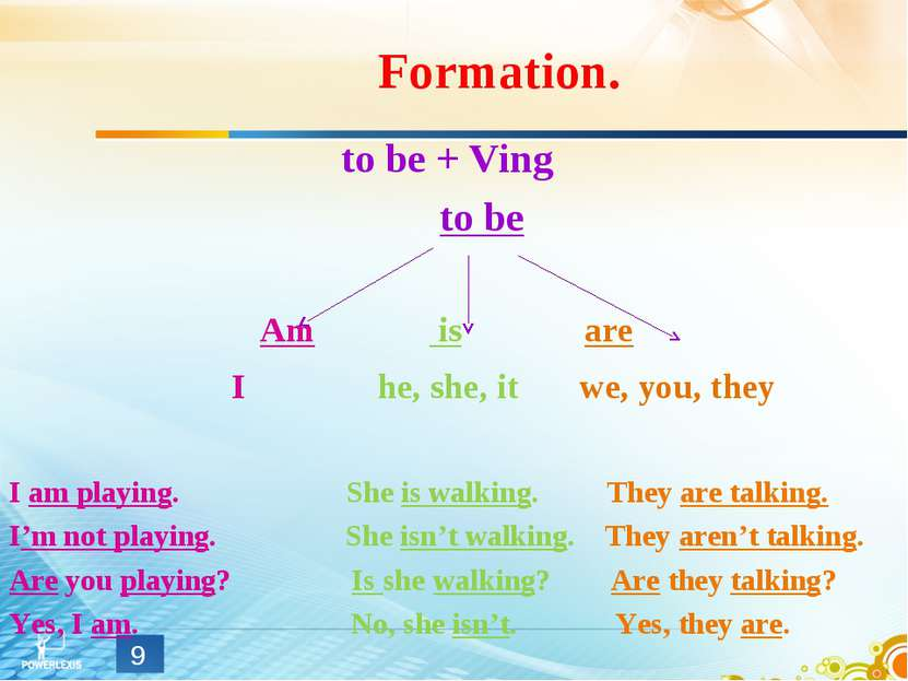 Formation. to be + Ving to be Am is are I he, she, it we, you, they I am play...