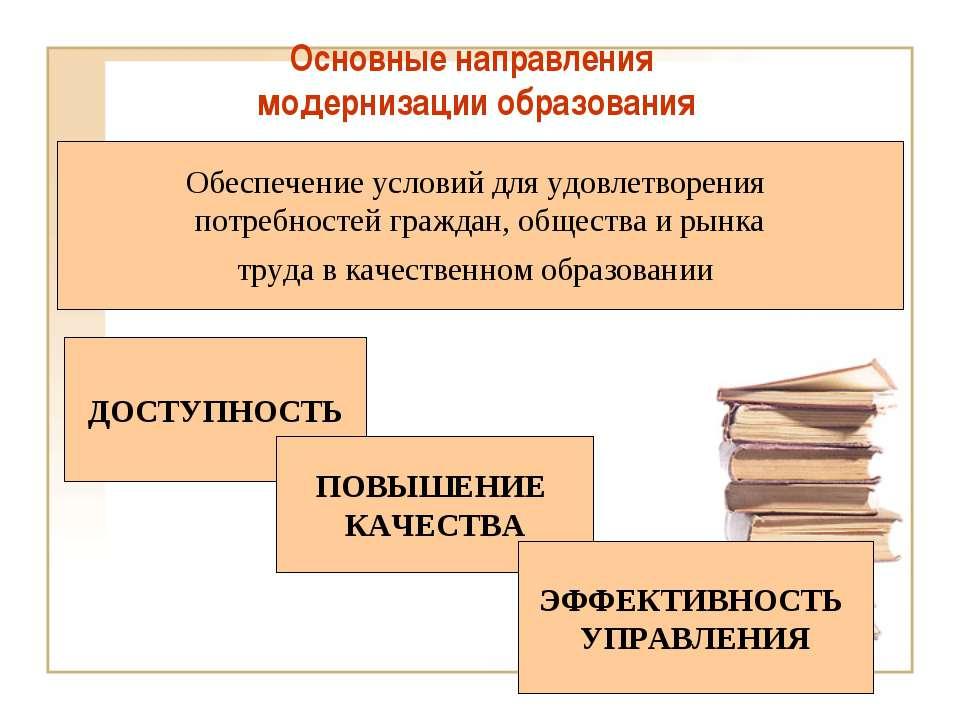 Основные направления модернизации образования ДОСТУПНОСТЬ ПОВЫШЕНИЕ КАЧЕСТВА ...