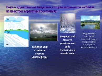 Вода – единственное вещество, которое встречается на Земле во всех трех агрег...