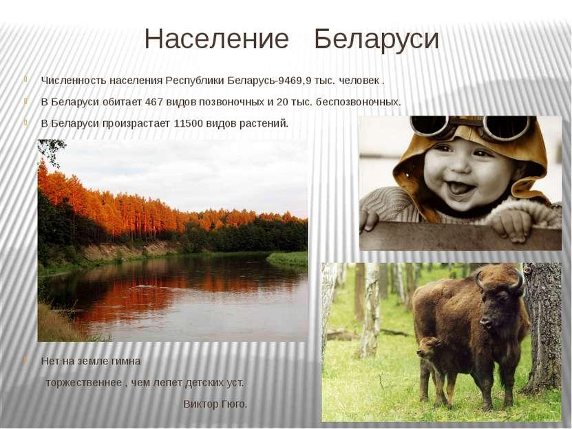 Население Беларуси Численность населения Республики Беларусь-9469,9 тыс. чело...