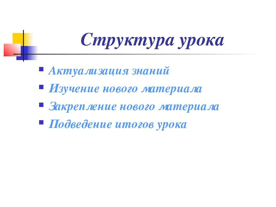 Структура урока Актуализация знаний Изучение нового материала Закрепление нов...