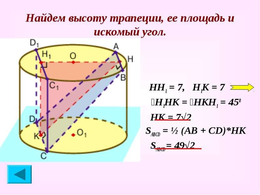 Найдем высоту трапеции, ее площадь и искомый угол. НН1 = 7, Н1К = 7 ےН1НК = ے...