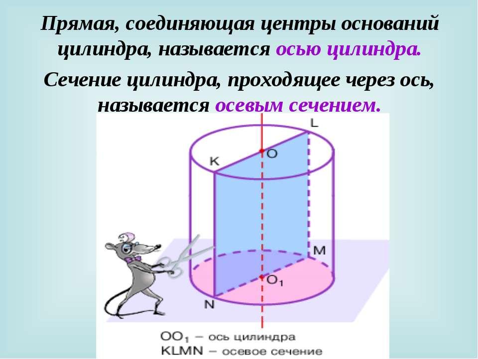 Прямая, соединяющая центры оснований цилиндра, называется осью цилиндра. Сече...