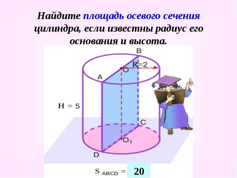 Найдите площадь осевого сечения цилиндра, если известны радиус его основания ...
