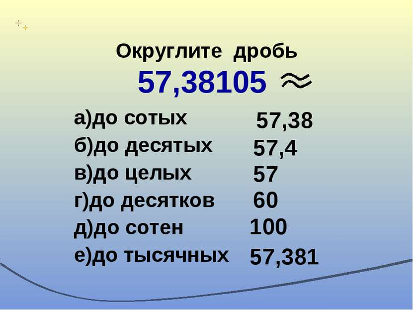 Округлите дробь 57,38105 а)до сотых б)до десятых в)до целых г)до десятков д)д...