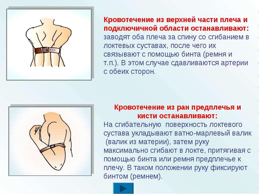 Кровотечение из верхней части плеча и подключичной области останавливают: зав...