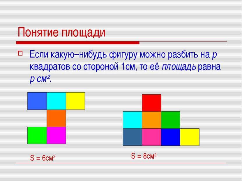 Понятие площади Если какую–нибудь фигуру можно разбить на р квадратов со стор...