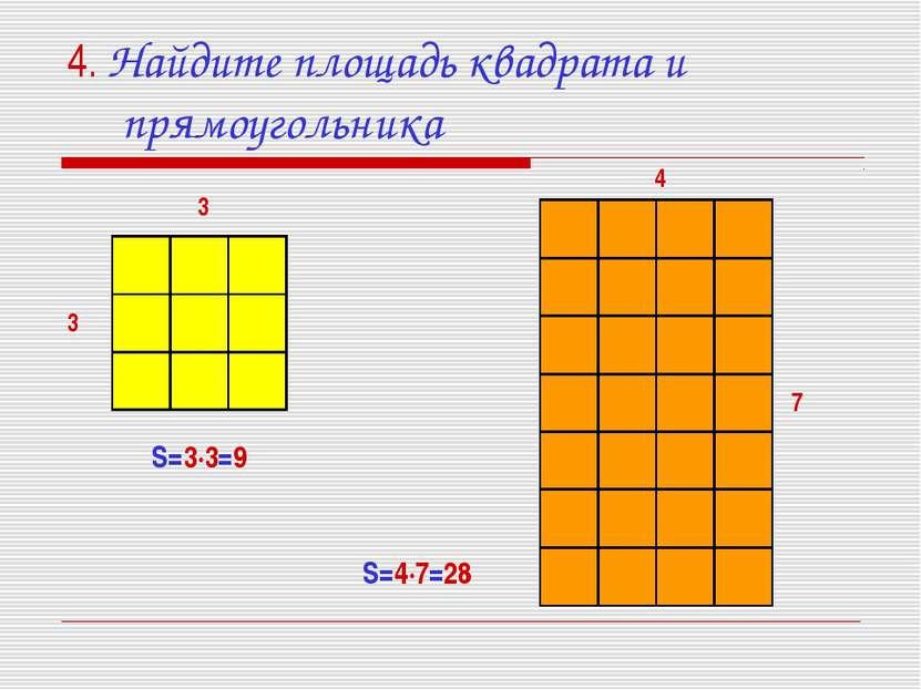 4. Найдите площадь квадрата и прямоугольника S=3·3=9 3 3 4 7 S=4·7=28