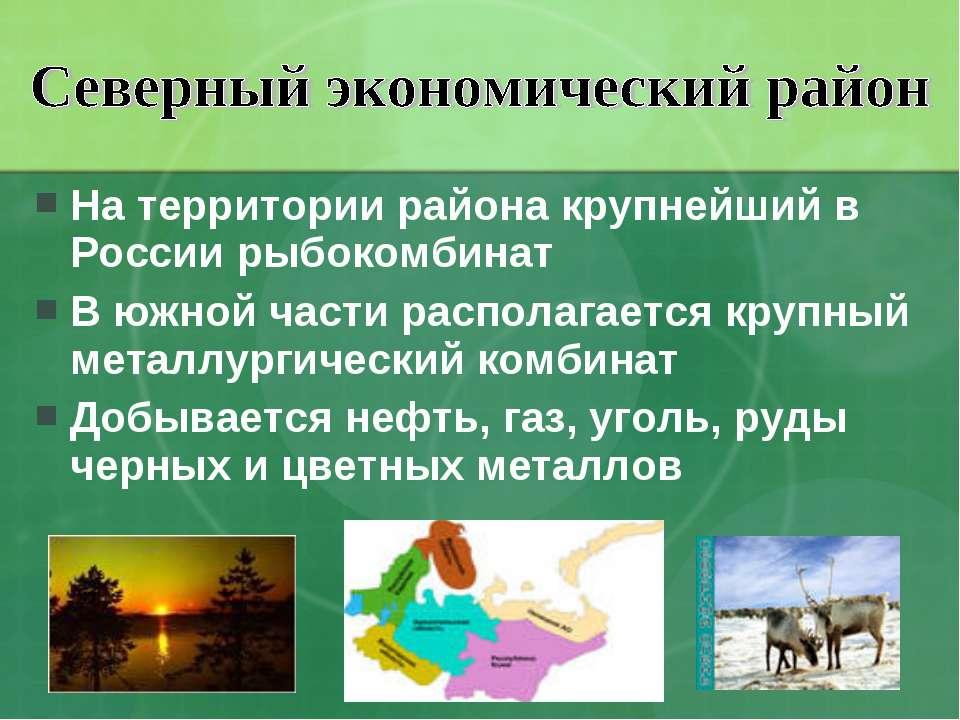 На территории района крупнейший в России рыбокомбинат В южной части располага...