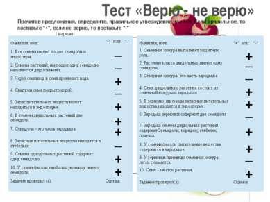 Тест «Верю - не верю» Прочитав предложения, определите, правильное утверждени...