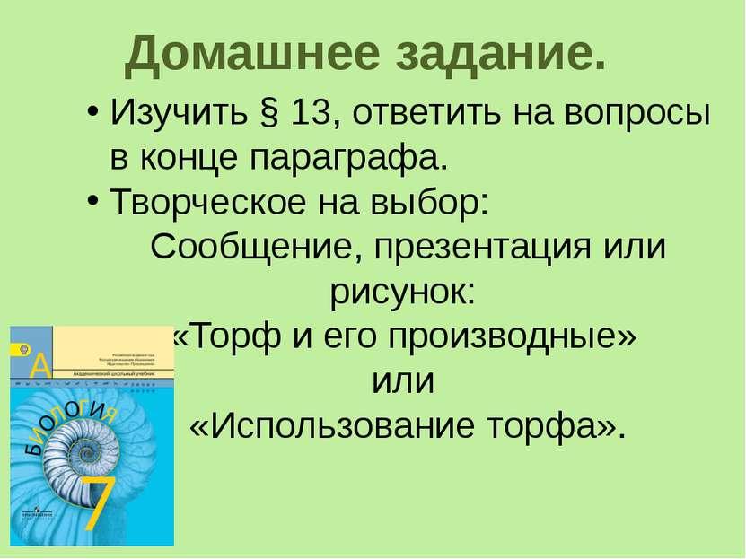Домашнее задание. Изучить § 13, ответить на вопросы в конце параграфа. Творче...