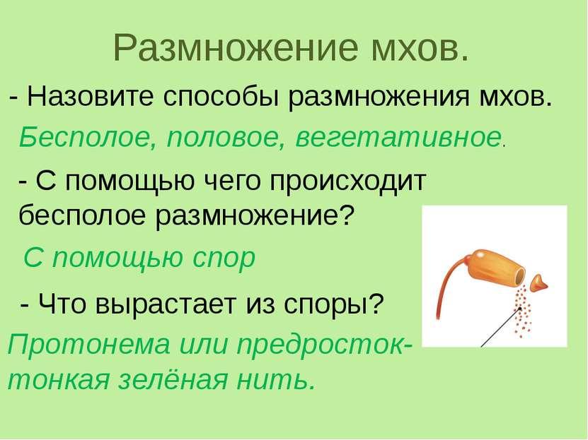 Размножение мхов. - Назовите способы размножения мхов. Бесполое, половое, вег...