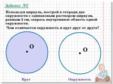 Круг Окружность Чем отличается окружность и круг друг от друга? O O Используя...