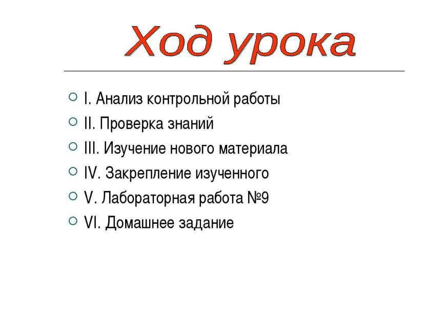 I. Анализ контрольной работы II. Проверка знаний III. Изучение нового материа...