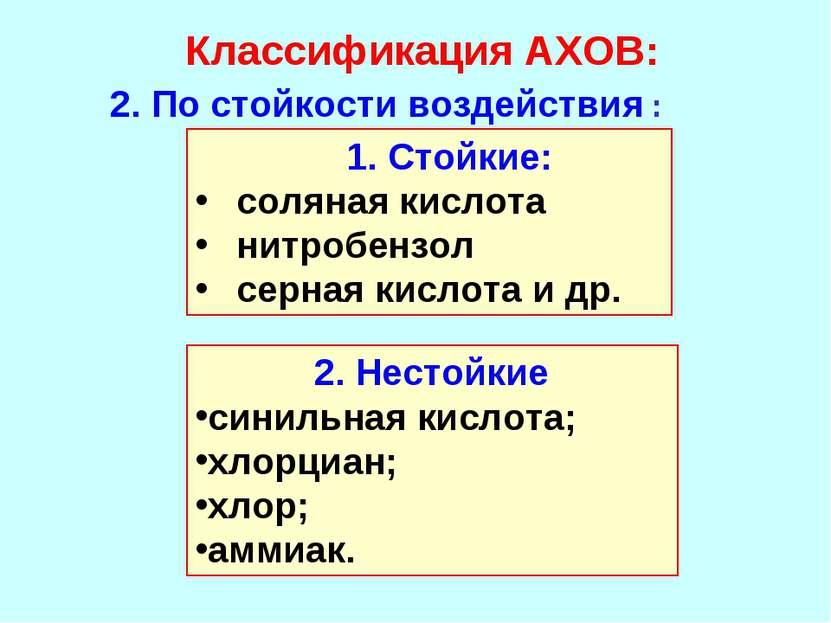 Классификация АХОВ: 2. По стойкости воздействия : Стойкие: соляная кислота ни...