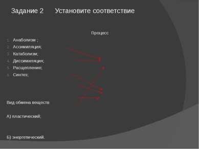 Задание 2 Установите соответствие Процесс Анаболизм ; Ассимиляция; Катаболизм...