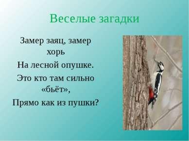 Веселые загадки Замер заяц, замер хорь На лесной опушке. Это кто там сильно «...