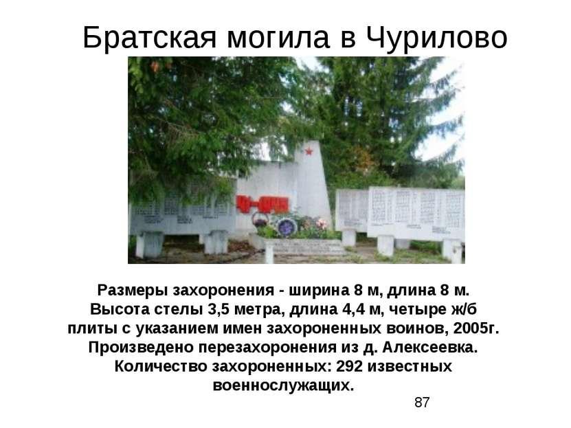 Братская могила в Чурилово Размеры захоронения - ширина 8 м, длина 8 м. Высот...