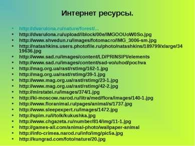 Интернет ресурсы. http://dvarulona.ru/nature/forest/... http://dvarulona.ru/u...