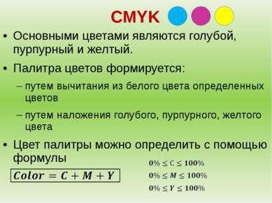 CMYK Основными цветами являются голубой, пурпурный и желтый. Палитра цветов ф...