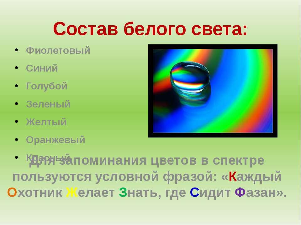 Состав белого света: Фиолетовый Синий Голубой Зеленый Желтый Оранжевый Красны...