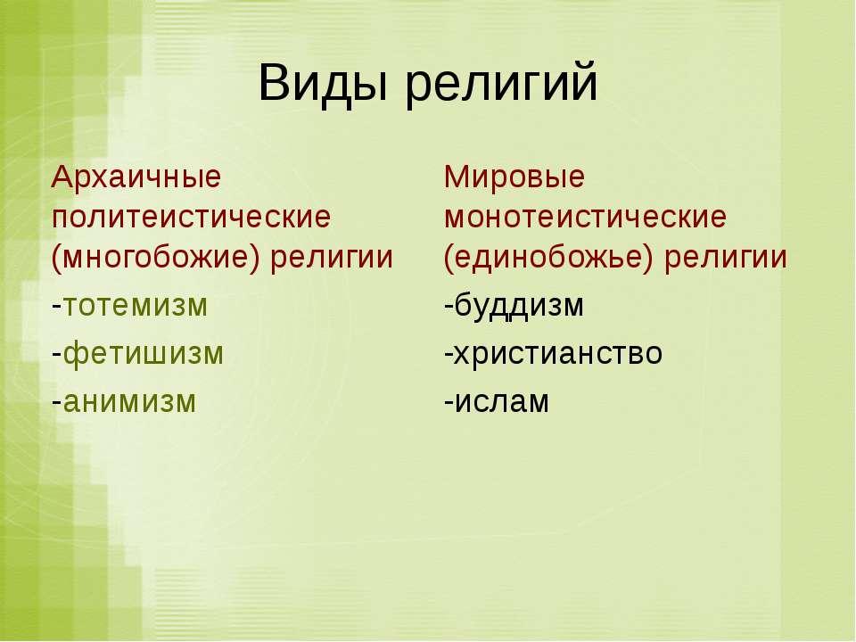 Виды религий Архаичные политеистические (многобожие) религии -тотемизм -фетиш...
