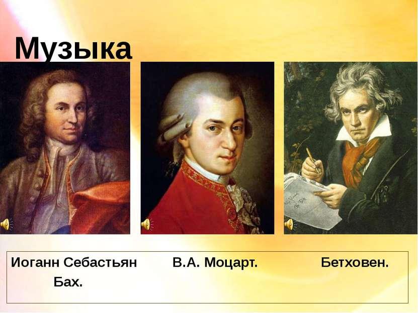 Музыка Иоганн Себастьян В.А. Моцарт. Бетховен. Бах.