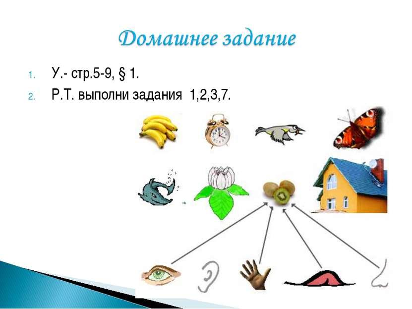 У.- стр.5-9, § 1. Р.Т. выполни задания 1,2,3,7.