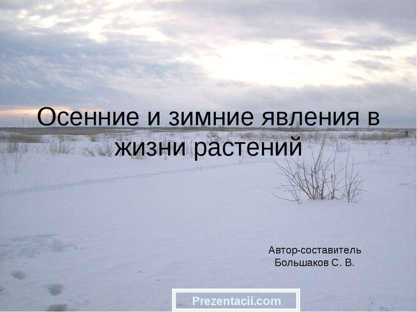 Осенние и зимние явления в жизни растений Автор-составитель Большаков С. В. P...