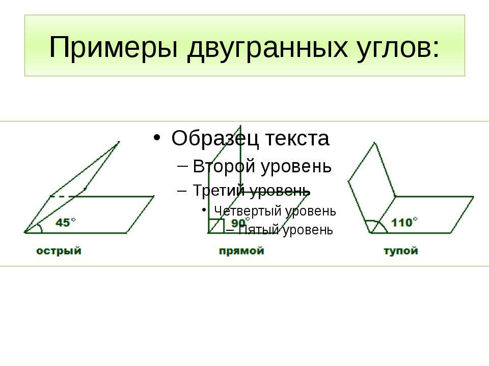 Примеры двугранных углов: