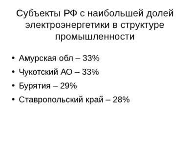 Субъекты РФ с наибольшей долей электроэнергетики в структуре промышленности А...