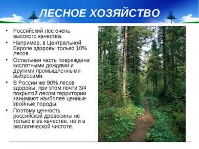 ЛЕСНОЕ ХОЗЯЙСТВО Российский лес очень высокого качества. Например, в Централь...