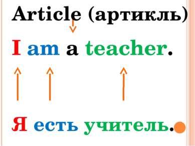 I am a teacher. Я есть учитель. Article (артикль)
