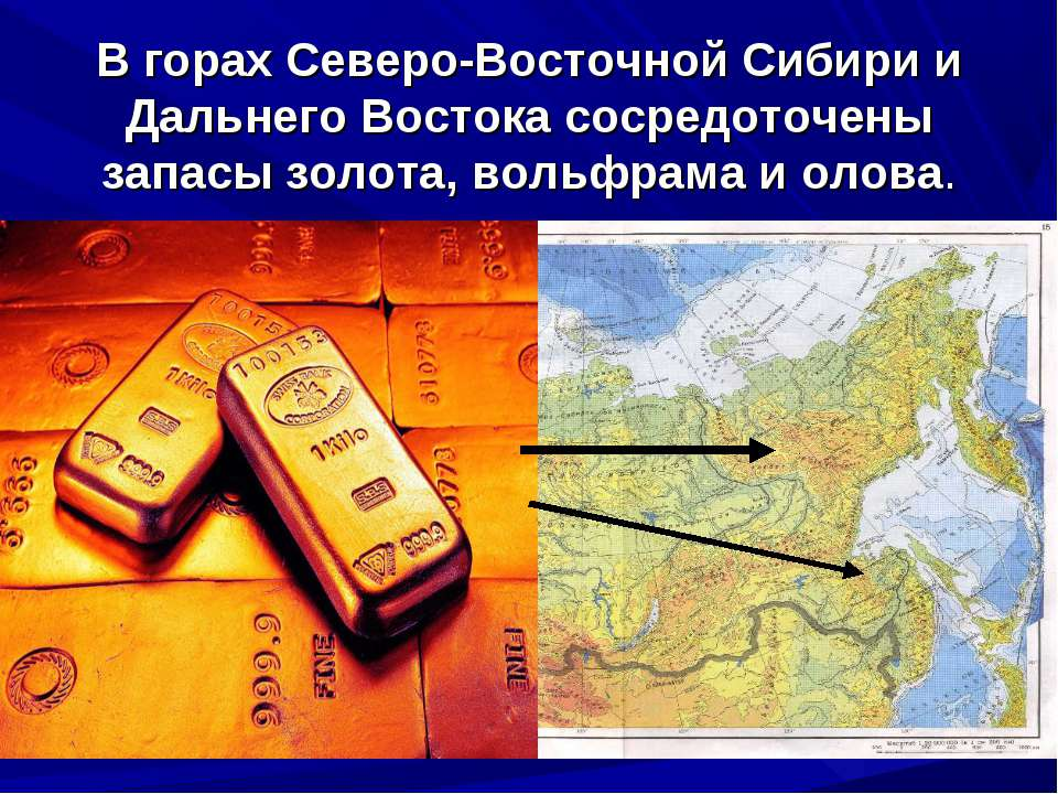 В горах Северо-Восточной Сибири и Дальнего Востока сосредоточены запасы золот...