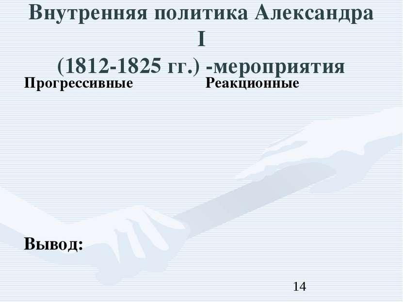Внутренняя политика Александра I (1812-1825 гг.) -мероприятия Вывод: