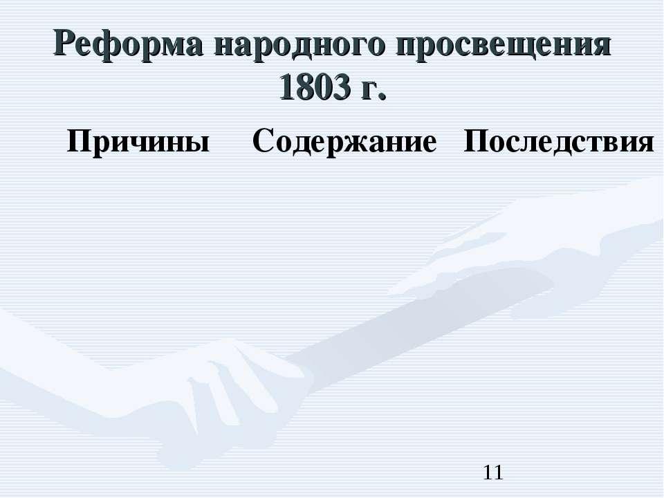 Реформа народного просвещения 1803 г.