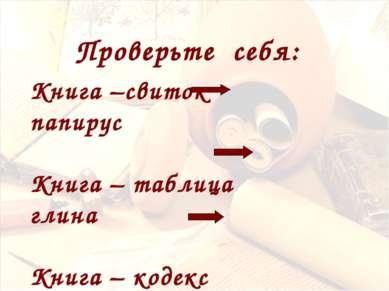 Книга –свиток папирус Книга – таблица глина Книга – кодекс пергамент Проверьт...