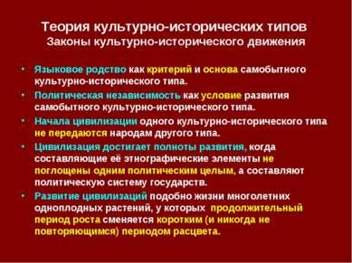 Теория культурно-исторических типов Законы культурно-исторического движения Я...
