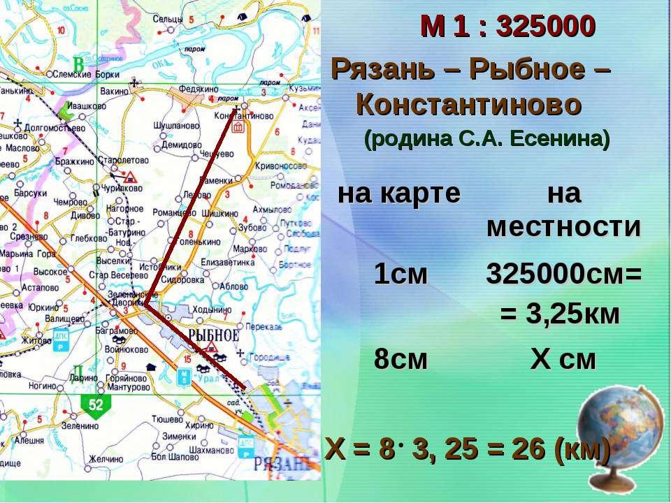 М 1 : 325000 Рязань – Рыбное – Константиново Х = 8 3, 25 = 26 (км) (родина С....