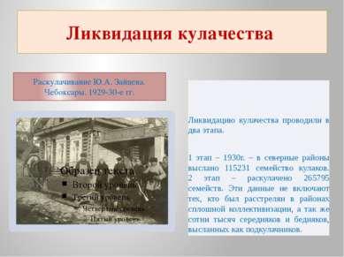Ликвидация кулачества Раскулачивание Ю.А. Зайцева. Чебоксары. 1929-30-е гг. Л...