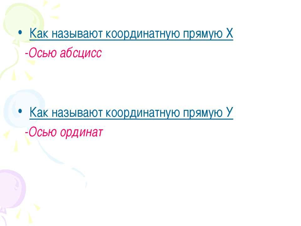 Как называют координатную прямую Х -Осью абсцисс Как называют координатную пр...
