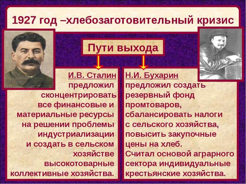 1927 год –хлебозаготовительный кризис Пути выхода И.В. Сталин предложил сконц...